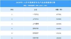 2020年1-5月中国乘用车企业销量排行榜