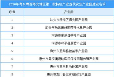 2020年粤东西北地区第一批特色产业现代农业产业园建设名单出炉