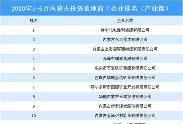 产业地产投资情报:2020上半年内蒙古投资拿地前十企业排行榜(产业篇)