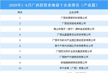 产业地产投资情报:2020上半年广西投资拿地前十企业排行榜(产业篇)