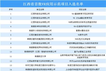 江西省首批VR应用示范项目入选名单出炉:32个项目上榜(附名单)