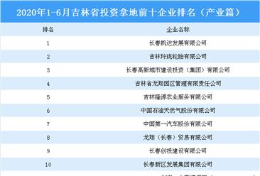产业地产投资情报:2020上半年吉林省投资拿地前十企业排行榜(产业篇)