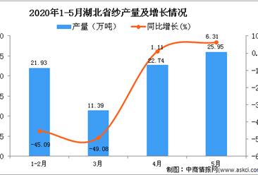 2020年1-5月湖北省纱产量为74.88万吨 同比下降32.69%