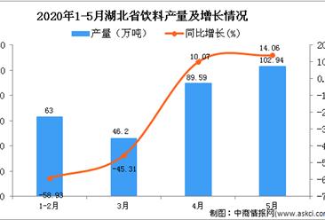 2020年1-5月湖北省饮料产量为310.82万吨 同比下降25.54%