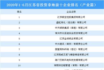产业地产投资情报:2020上半年江苏省投资拿地前十企业排行榜(产业篇)