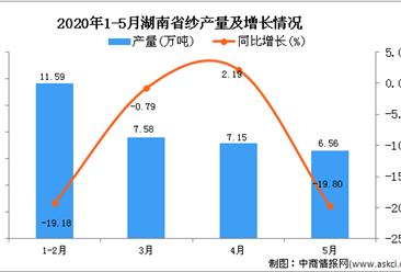2020年5月湖南省纱产量及增长情况分析