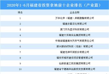产业地产投资情报:2020上半年福建省投资拿地前十企业排行榜(产业篇)
