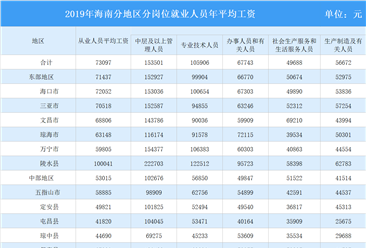 2019年海南省规模以上企业分岗位平均工资情况分析(图)