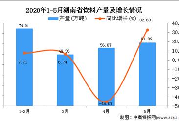 2020年1-5月湖南省饮料产量为249.51万吨 同比增长19.52%