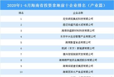 产业地产投资情报:2020年1-6月海南省投资拿地前十企业排行榜(产业篇)