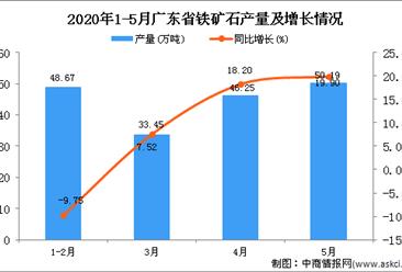 2020年1-5月广东省铁矿石产量为178.53万吨 同比增长5.42%