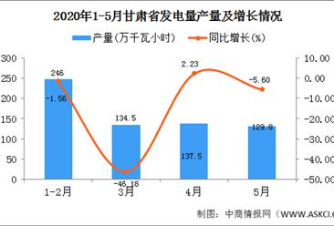2020年1-5月甘肃省发电量产量为648.50万吨 同比增长25.00%