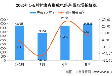 2020年1-5月甘肃省集成电路产量为1620292.00万吨 同比增长38.16%