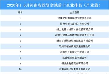 产业地产投资情报:2020上半年河南省投资拿地前十企业排行榜(产业篇)