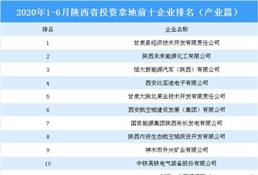 产业地产斥资情报:2020年1-6月陕西省斥资拿地上十集团排行榜(产业篇)