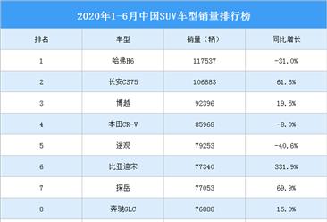 2020年上半年中国suv车型销量排行榜