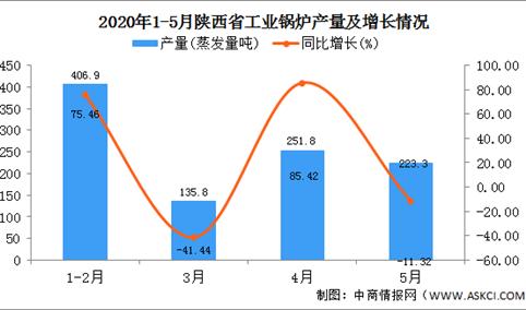 2020年1-5月陕西省工业锅炉产量为1017.70蒸发量吨   同比增长28.90%