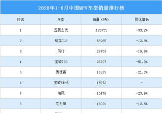 2020年1-6月中国MPV车型销量排行榜