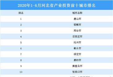 2020年上半年河北省产业投资前十城市排名(产业篇)