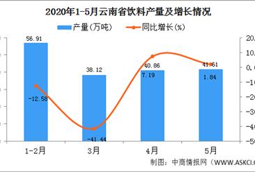 2020年1-5月云南省饮料产量为174.87万吨  同比增长29.32%