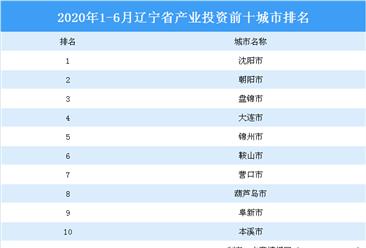 2020上半年辽宁省产业投资前十城市排名(产业篇)