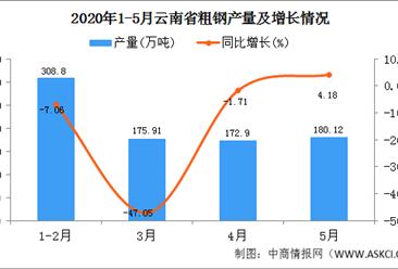 2020年1-5月云南省粗钢产量为837.73万吨  同比增长27.39%