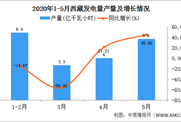 2020年5月西藏发电量产量及增长情况分析