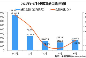 2020年6月中国原油进口量为5318.1万吨  同比增长34.4%
