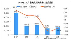 2020年6月中国煤及褐煤进口量为2528.6万吨  同比下降6.7%