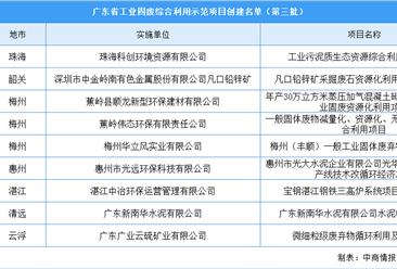 广东省第三批工业固废综合利用示范项目创建名单:9个项目入选