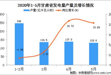 2020年1-5月甘肃省发电量产量为648.50万吨   同比增长5.59%。
