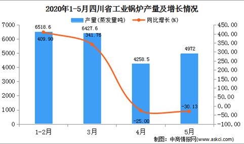 2020年1-5月四川省工业锅炉产量为22173.60蒸发量吨  同比下降34.34%