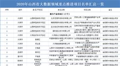 2020年山西省大数据领域重点推进项目名单汇总一览(表)