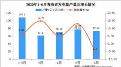 2020年1-6月青海省发电量产量为3890.70亿千瓦小时  同比增长22.86%