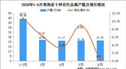2020年1-6月青海省十种有色金属产量为112.82万吨   同比增长25.09%