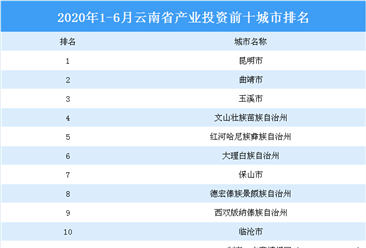 2020上半年云南省产业投资前十城市排名:昆明位居榜首(产业篇)
