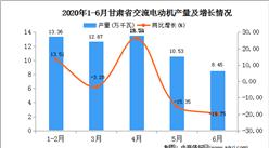 2020年1-6月甘肃省交流电动机产量为58.53万千瓦  同比增长16.87%