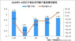 2020年1-6月辽宁省化学纤维产量同比下降25.92%