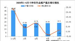 2020年1-6月陕西省十种有色金属产量为108.74万吨   同比增长20.50%