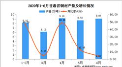 2020年1-6月甘肃省铜材产量为41.23万吨  同比增长28.20%