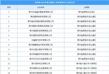 贵州省2020年第五批拟入库科技型中小企业公示名单出炉(附完整名单)