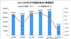 2020年1-6月中国蓄电池进口量及金额增长情况分析