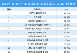 2020年《财富》中国500强净资产收益率最高的40家公司排行榜(附完整榜单)