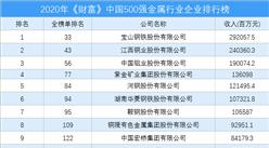 2020年《财富》中国500强金属行业企业排行榜(附完整榜单)