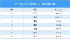 2019年山东各市常住人口数量排行榜:临沂第一 青岛第二(图)