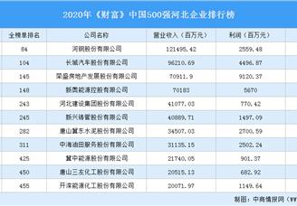 2020年《财富》中国500强河北企业排行榜(附完整榜单)