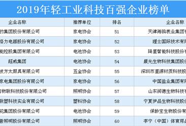 2019年轻工业科技百强企业排行榜