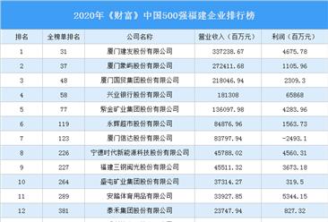 2020年《財富》中國500強福建企業排行榜(附完整榜單)