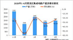 2020年1-6月黑龙江集成电路产量为10906万块 同比下降31.27%
