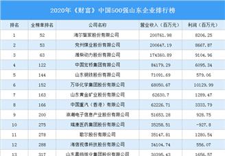 2020年《财富》中国500强山东企业排行榜(附完整榜单)